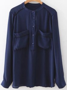 Double Pockets Chiffon Shirt