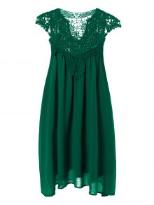 Plus Size Lace Chiffon Dress - Blackish Green 3xl