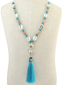 Buy Tassel Pendant Sea Shell Necklace LAKE BLUE