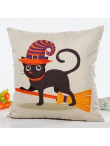 Buy Halloween Cat Witch Cartoon Sofa Cushion Pillow Case - BEIGE