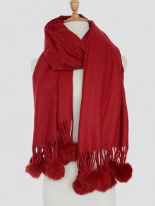 Small Fuzzy Ball Solid Shawl Scarf - WINE RED