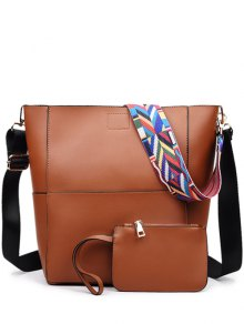 Print Strap PU Leather Crossbody Bag - Brown