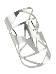 Hollow Out Cuff Geometric Bracelet - Silver