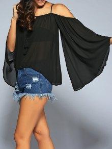 Buy Flare Sleeve Cold Shoulder Cami Blouse - BLACK S