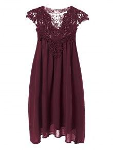 Plus Size Lace Chiffon Dress - Claret