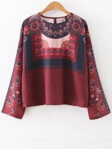 Printed Vintage Blouse - Dark Red