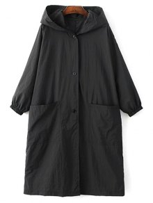 Buy Letter Print Loose Hooded Trench Coat - BLACK L