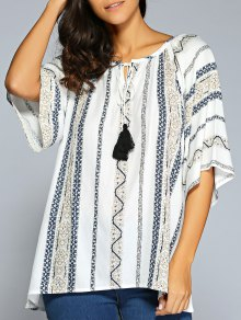 Tassels Printed Blouse - Blue 2xl