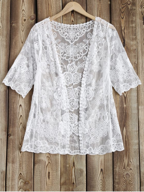 Lace Sheer Cover Up - Blanc TAILLE MOYENNE