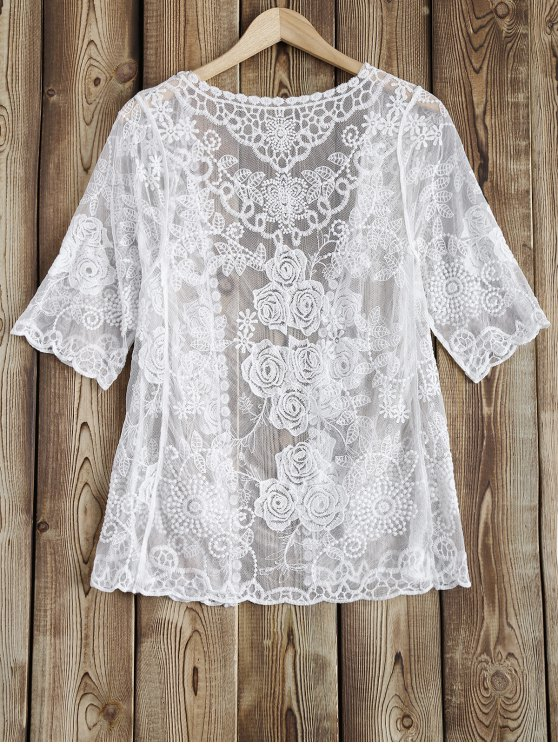 Sheer Lace Cover Up - WHITE ONE SIZE Mobile