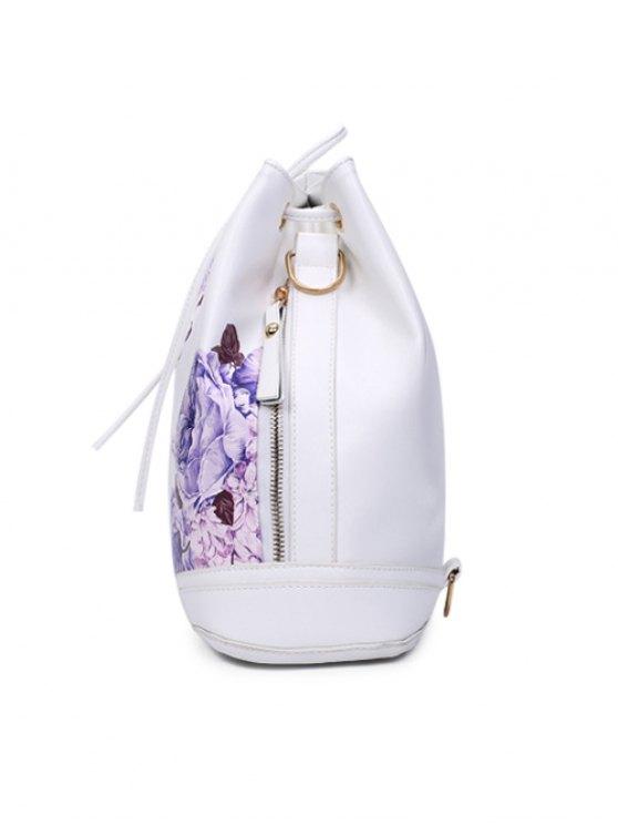 Drawstring Peony Print Backpack - WHITE  Mobile