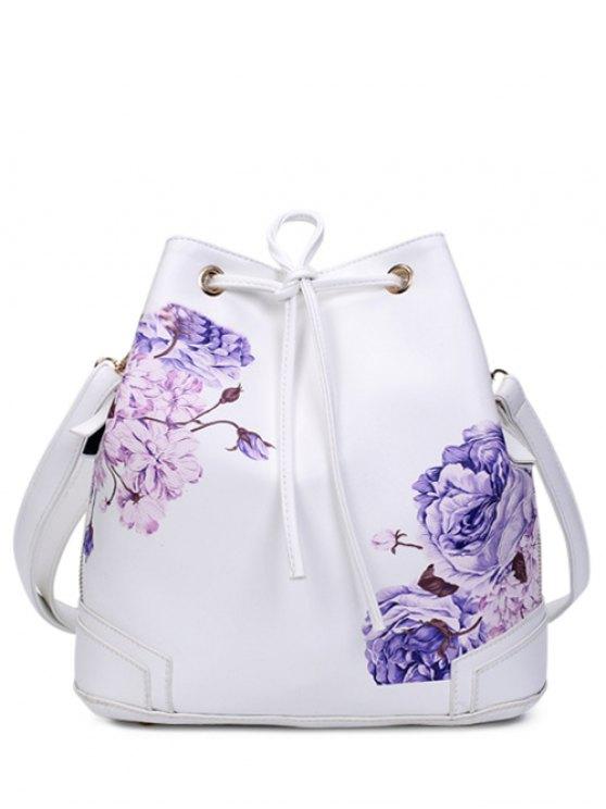 women Drawstring Peony Print Backpack - WHITE