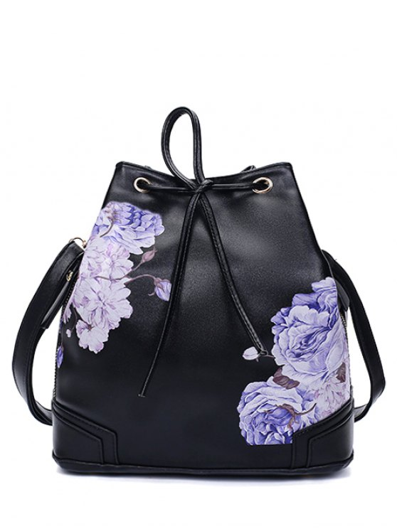 women's Drawstring Peony Print Backpack - BLACK