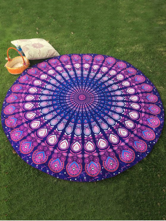 Arab Print Round Beach Throw - PURPLE ONE SIZE Mobile