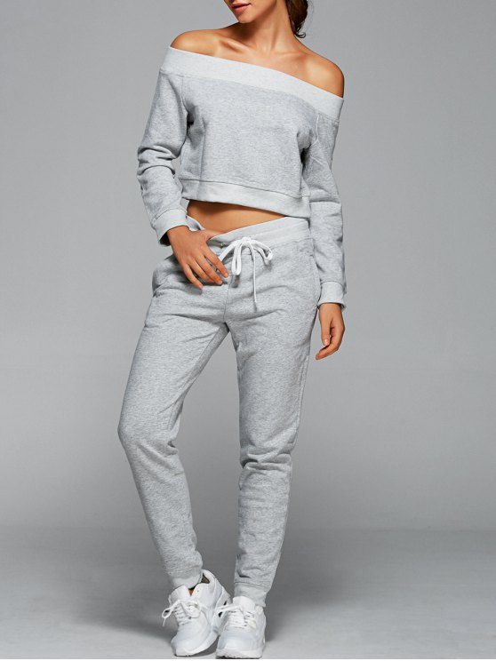 Sweatshirt With Pants Gym Outfits - Gris Claro L