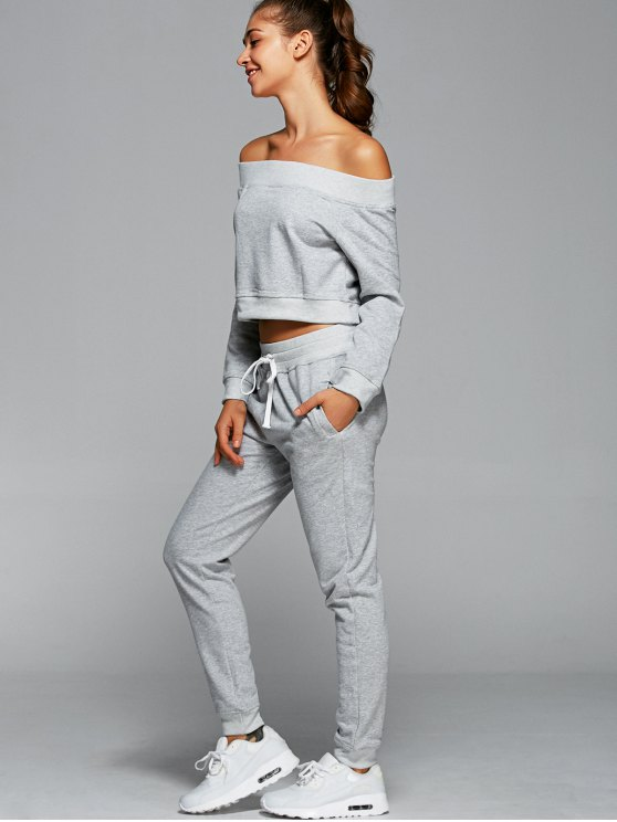 Sweatshirt With Pants Gym Outfits - LIGHT GRAY M Mobile