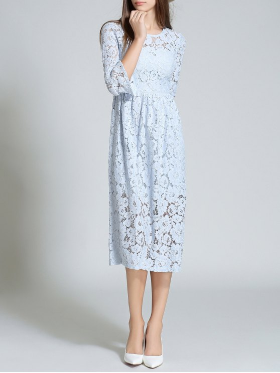 Round Neck Flare Sleeve Lace Dress - LIGHT BLUE M Mobile