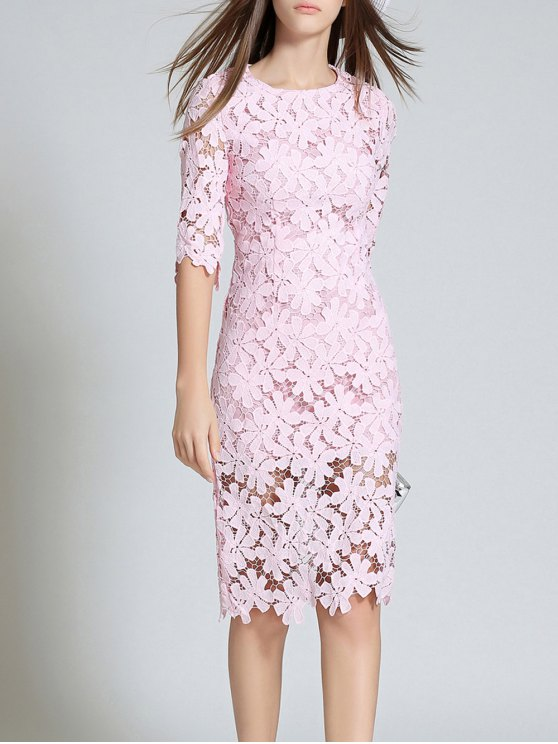 Round Neck 3/4 Sleeve Full Lace Bodycon Dress - PINK XL Mobile