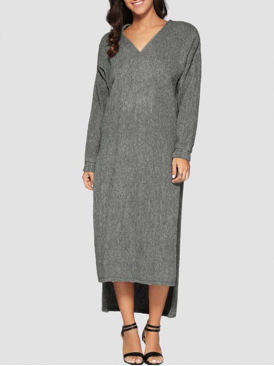 Recortable vestido de suéter con cuello en V manga larga - Gris L