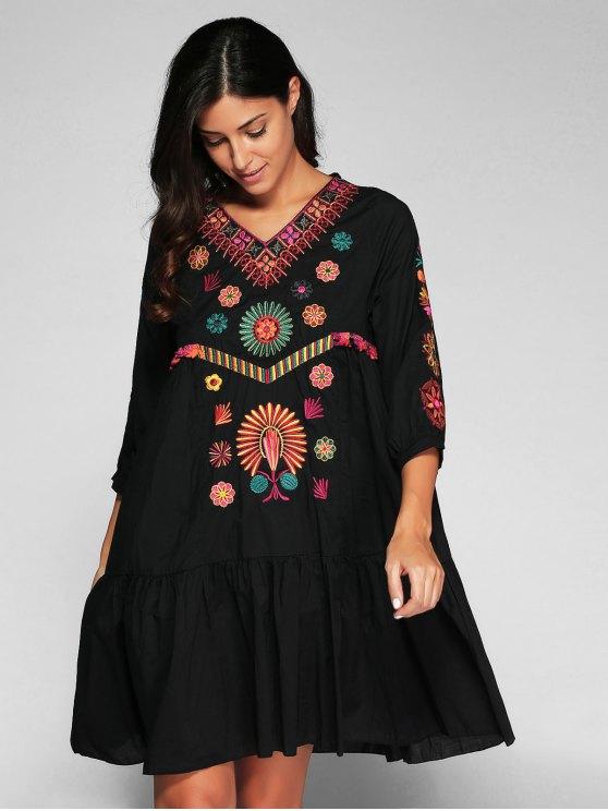 Embroidered Smock Dress - BLACK M Mobile