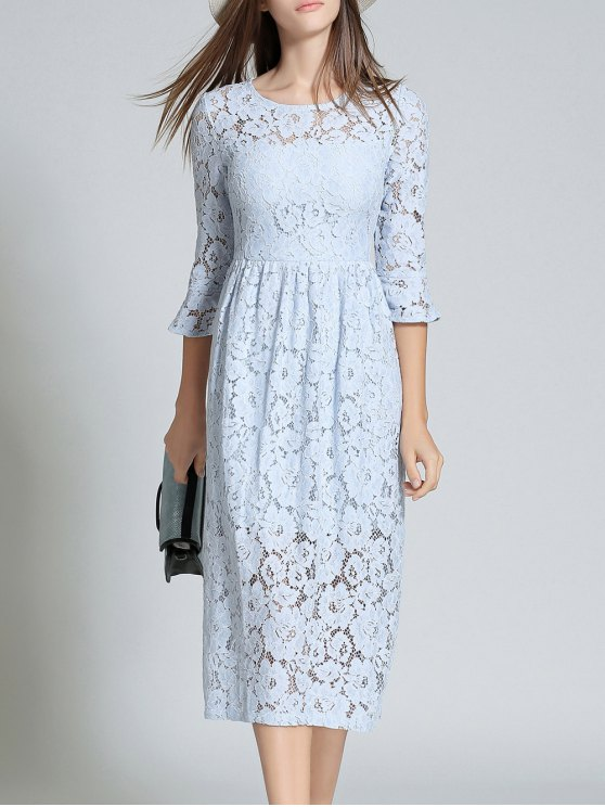 hot Round Neck Flare Sleeve Lace Dress - LIGHT BLUE 2XL