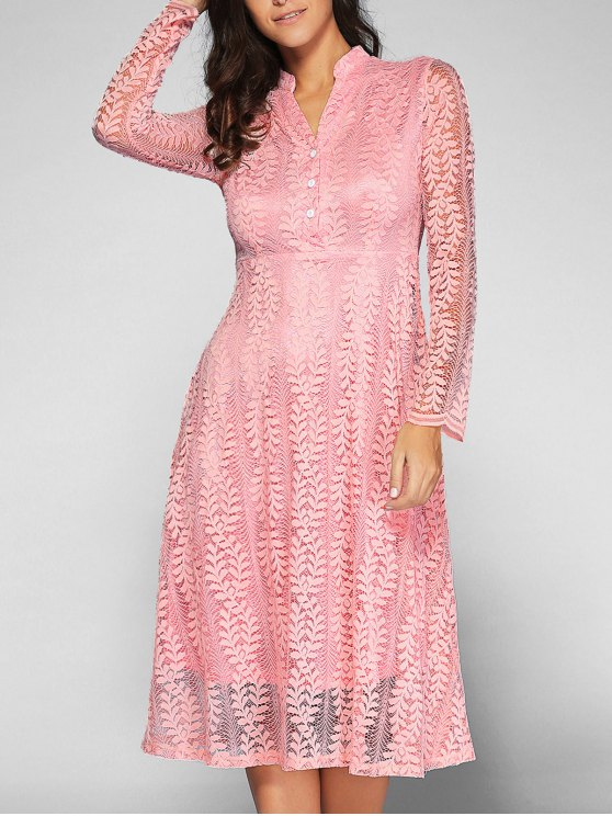 outfit Leaf Pattern Lace Dress - PINK XL