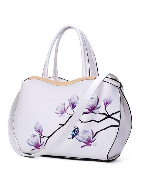 Metal Magnolia Print Tote Bag - WHITE  Mobile