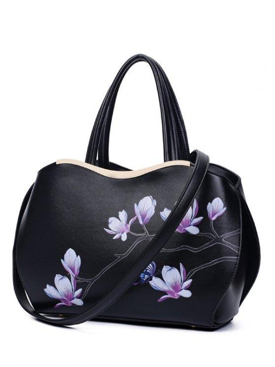 women's Metal Magnolia Print Tote Bag - BLACK