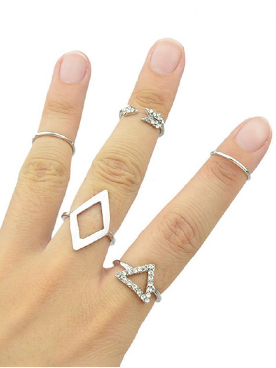 Alloy Rhinestone Triangle Jewelry Set Rings - SILVER ONE-SIZE Mobile