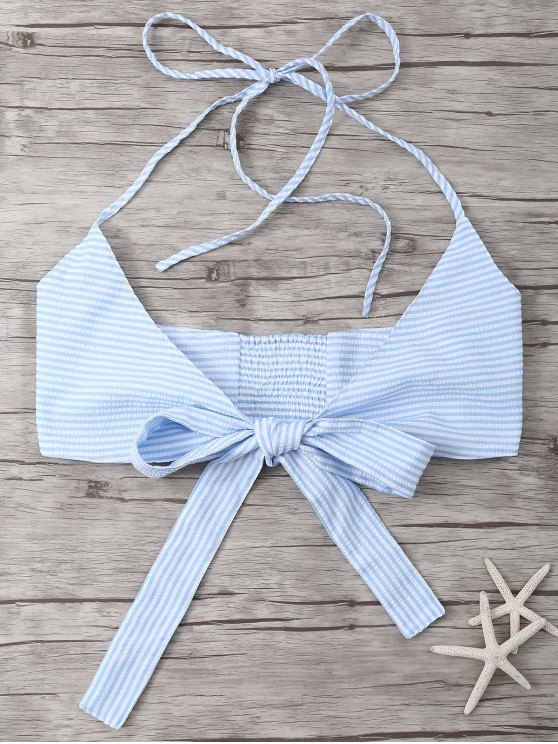Striped Halter Wraped Tank Top - LIGHT BLUE M Mobile