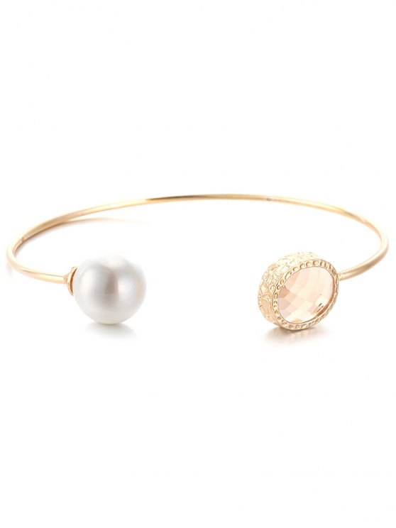 Faux Crystal Pearl Cuff Bracelet -   Mobile