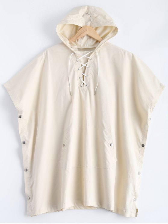 Side Slit Hooded Lace Up Pullover Cape - OFF-WHITE S Mobile