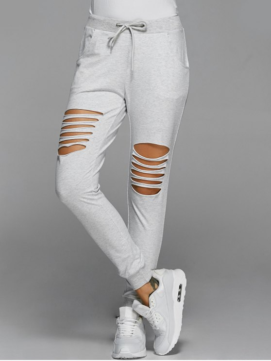 Drawstring Distressed Pants - LIGHT GRAY S Mobile
