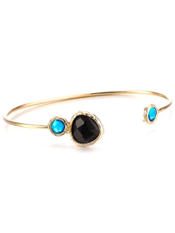 Alloy Faux Sapphire Cuff Bracelet -   Mobile