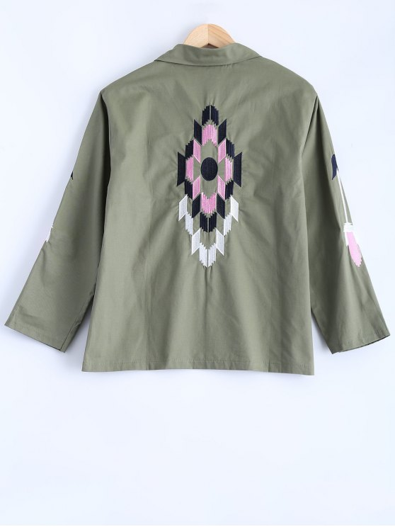 Embroidered Utility Jacket - ARMY GREEN ONE SIZE Mobile