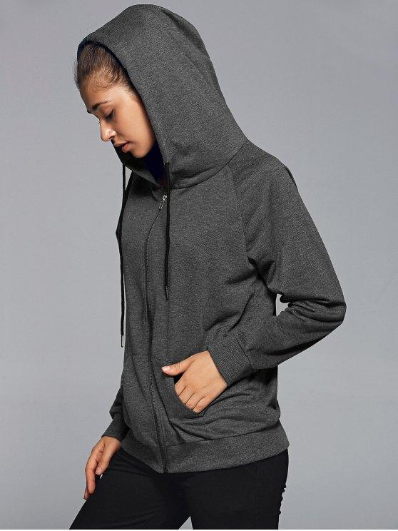 Active Zip Up Hoodie - DEEP GRAY S Mobile
