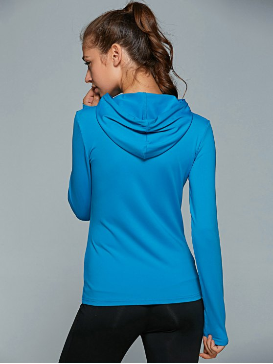 Hooded Drawstring T-Shirt - BLUE L Mobile