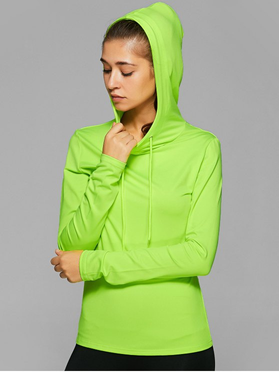 Hooded Drawstring T-Shirt - NEON GREEN L Mobile