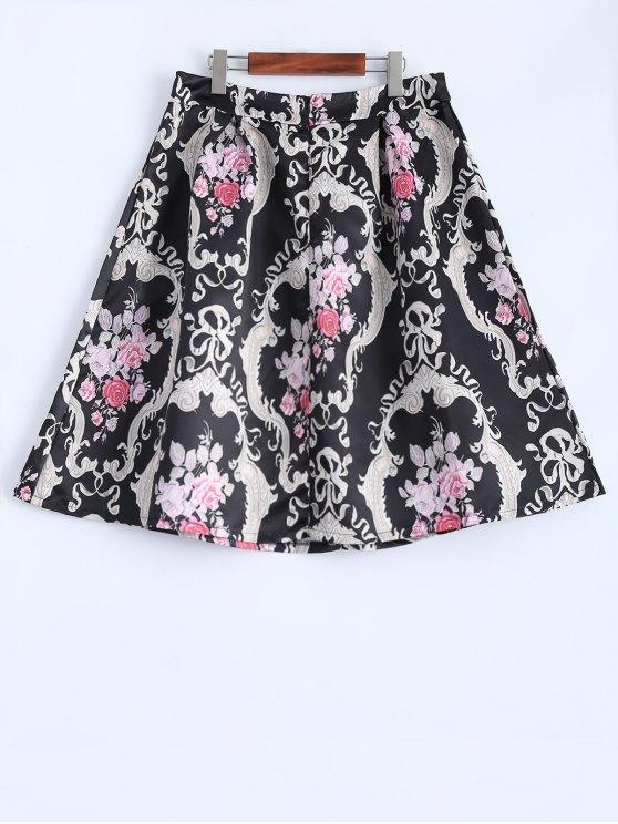 Pleated Midi Skirt - BLACK M Mobile
