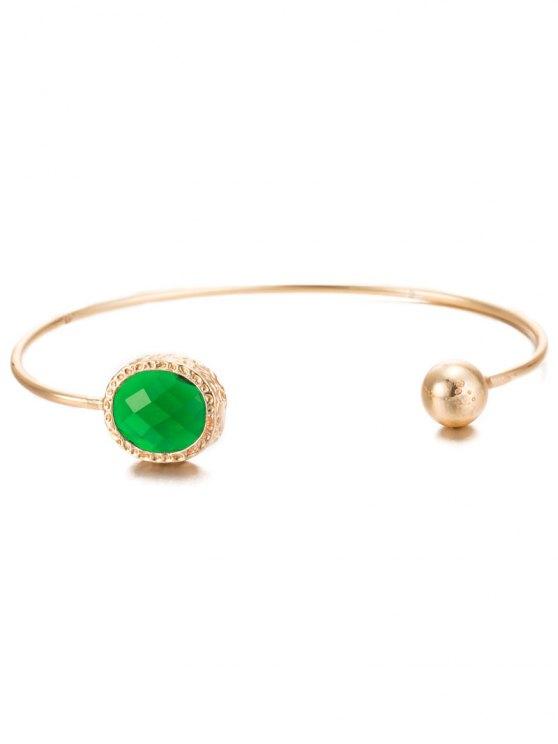 Alloy Faux Emerald Bead Cuff Bracelet -   Mobile