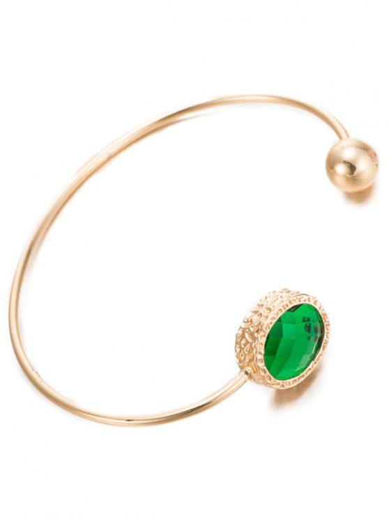 Alloy Faux Emerald Bead Cuff Bracelet -   Mobile