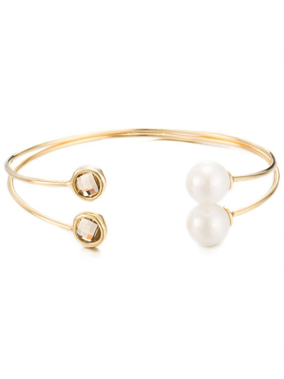 Faux Cristal Perle Layered Bracelet - Or