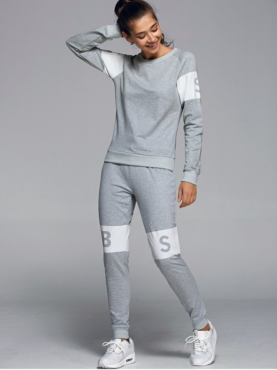 Letter Print Sweatshirt With Pants Gym Suit - LIGHT GRAY M Mobile