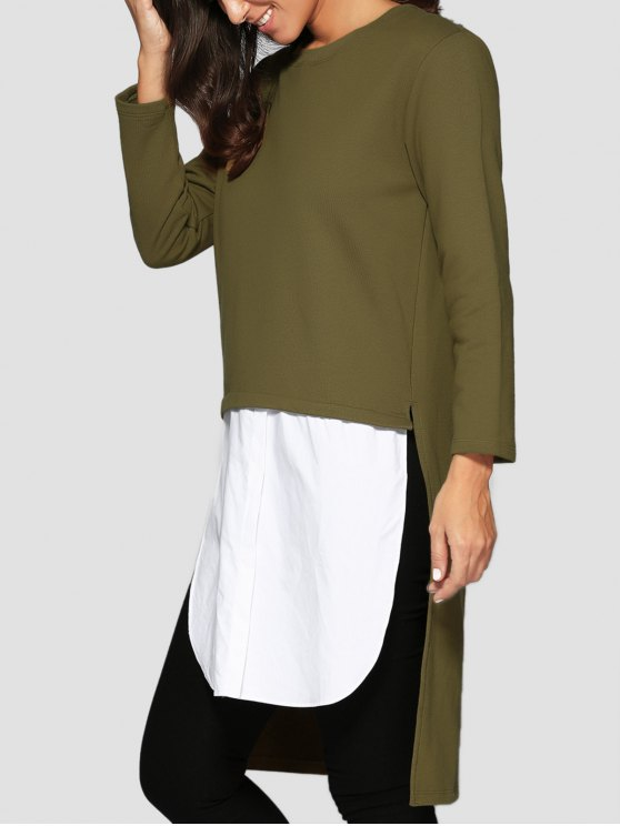 High Low Spliced Longline Sweatshirt - GREEN ONE SIZE Mobile