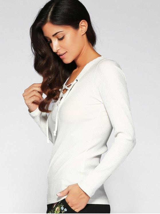 V Neck Long Sleeve Lace Up T-Shirt - WHITE M Mobile