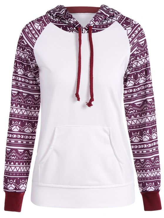 chic Big Pocket Pullover Printed Hoodie - WHITE S