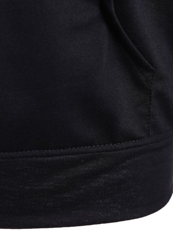 Big Pocket Pullover Printed Hoodie - BLACK S Mobile