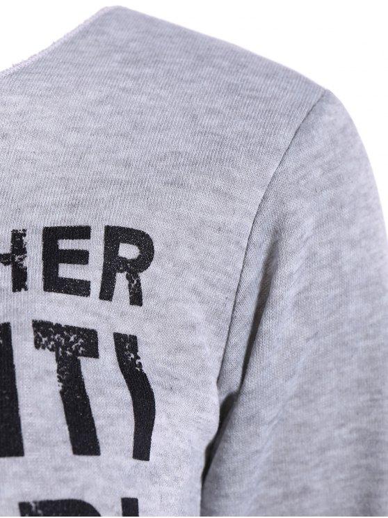 Skew Neck Graphic Sweatshirt - GRAY M Mobile