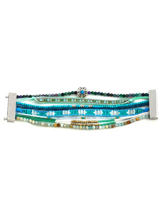 Faux Turquoise Beaded Bracelet - TURQUOISE  Mobile