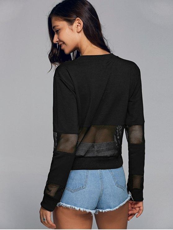 Mesh Spliced Letter Sweatshirt - BLACK L Mobile